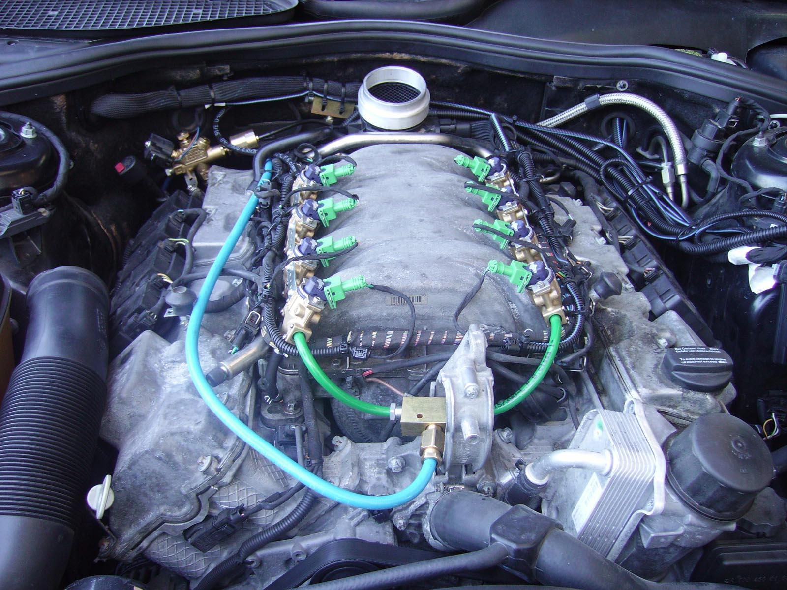Trasformazione di una Mercedes S 500 a GPL a iniezioni liquida. Senza polmone riduttore.
